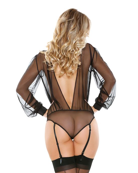 Long Sleeve Sheer Teddy With Detachable Garters & Snap Closure