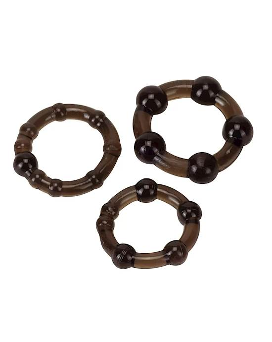 Ultra Stretch Beaded Cock Ring Set  3 Pack